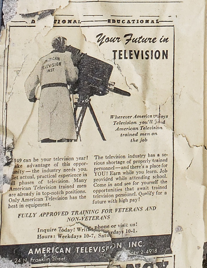 Newspaper ad from 1949 advertising training in television from American Television, Inc.